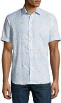 Neiman Marcus Snakeskin-Print Short-Sleeve Sport Shirt