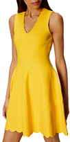 Karen Millen Jacquard Fit And Flare Dress, Yellow