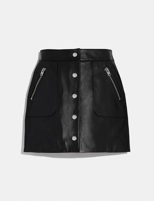 Coach Leather Mini Skirt