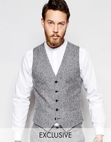 Noak Winter White Donegal Wool Waistcoat In Super Skinny Fit