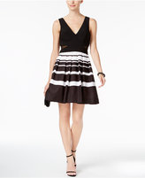 Xscape Evenings Petite Illusion Striped Fit and Flare Dress
