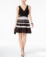 Xscape Evenings Petite Illusion Striped Fit & Flare Dress