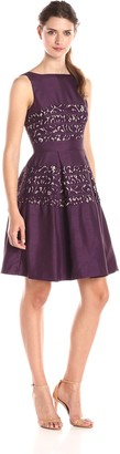 Taylor Dresses Women's Fit and Flare Dress with Lace Insets