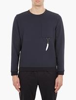 Oamc Navy Feather-Detail Sweatshirt