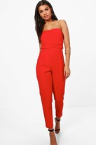 boohoo Sarah Bandeau Tailored Woven Slim Fit Jumpsuit