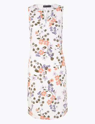 Marks and Spencer Linen Floral V-Neck Shift Dress