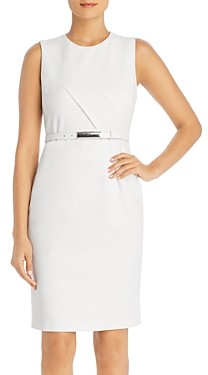 Elie Tahari Azra Sleeveless Belted Sheath Dress