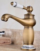 AWXJX Retro faucet AWXJX Copper Retro hot and cold Single Hole Gold basin