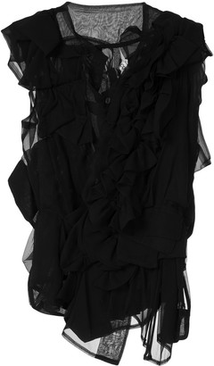 Comme Des Garçons Pre-Owned Ruffle Sheer Blouse