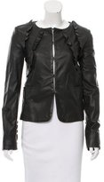 Valentino Ruffle-Trimmed Leather Jacket w/ Tags