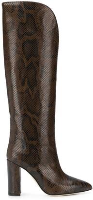 Paris Texas Python-Effect Knee-High 100mm Boots