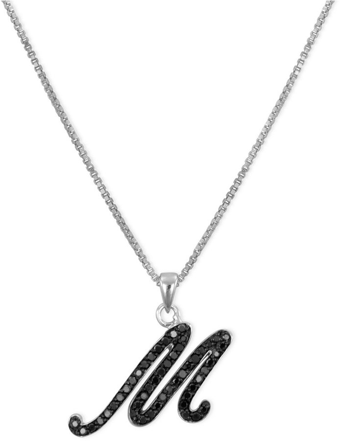 "Sterling Silver Necklace, Black Diamond ""M"" Initial Pendant (1/4 ct. t.w.)"