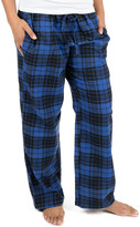 Leveret Women's Sleep Bottoms Black - Black & Navy Plaid Flannel Pajama Pants - Women
