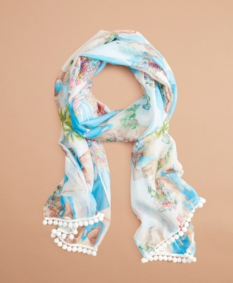 Brooks Brothers Tropical-Print Cotton-Silk Oblong Scarf
