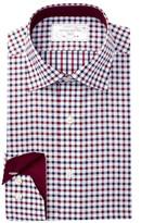 Lorenzo Uomo Long Sleeve Trim Fit Gingham Check Dress Shirt