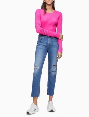 Calvin Klein Ribbed Crewneck Cropped Sweater