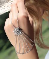 Nautilus Silvertone Cluster Wrist-to-Ring Bracelet