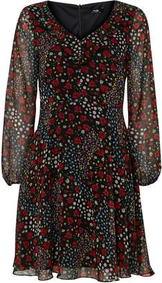 Wallis PETITE Black Floral Fit and Flare Dress