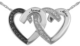 Zales Couple's Enhanced Black and White Diamond Accent Double Heart Necklace in Sterling Silver (2 Names)