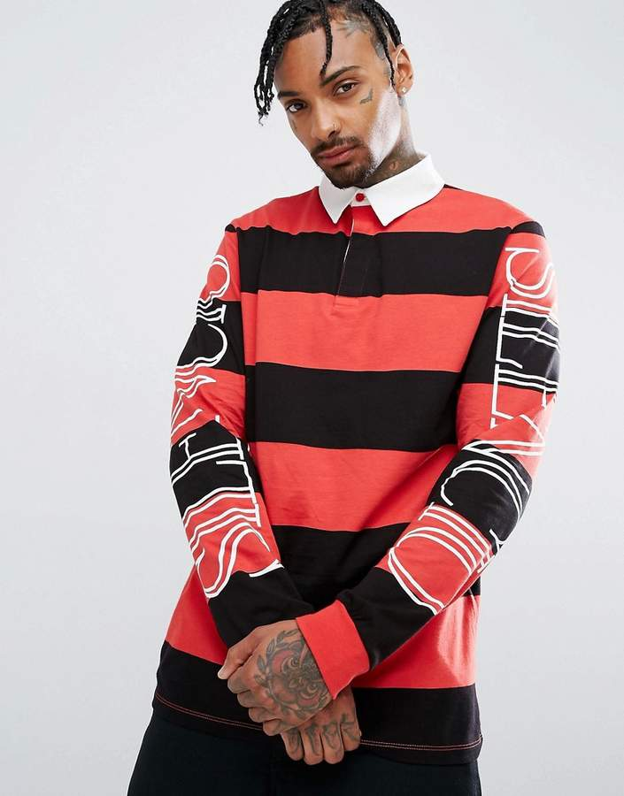 Asos Relaxed Long Sleeve Rugby Polo With Block Stripe & Sleeve Print