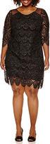 Robbie Bee 3/4 Sleeve Scallop Lace Sheath Dress-Plus