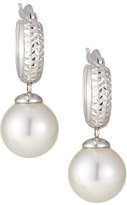 Majorica Silver Huggie Hoop Pearl Drop Earrings