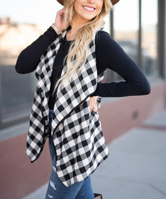 Buffalo David Bitton Aili's Corner Women's Outerwear Vests white/black - White & Black Check Drape-Collar Vest - Women