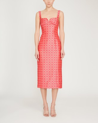 Saloni Halle Printed Stretch Crepe Midi Dress