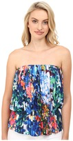 Nicole Miller Tie-Dye Flowers Pleated Tube Top