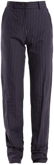 J.W.Anderson High Rise Pinstriped Cotton Trousers - Womens - Navy Stripe