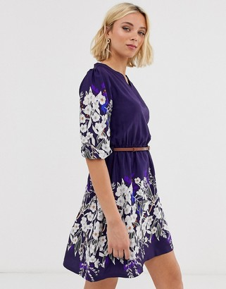 Yumi belted dress with 3/4 sleeves in floral border print-Navy