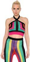 Balmain Colorful Crochet Cropped Halter Top