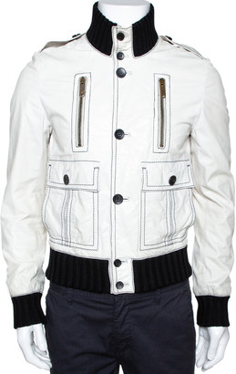 Gucci White Leather Rib Knit Trim Bomber Jacket M