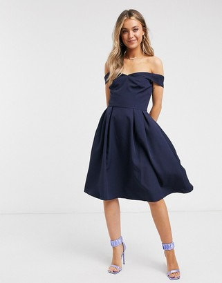 Chi Chi London bardot midi dress in navy