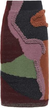 Peter Pilotto Boucle-trimmed Intarsia-knit Cotton-blend Pencil Skirt
