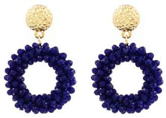 Goodnight Macaroon 'Bowie' Handmade Bead Embellished Hoop Drop Earrings (10 Colors)
