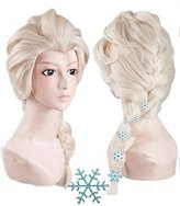 Snow Queen Anogol Hair Cap+ Kids Blonde Cosplay Wig Party Wigs Braid With 6 Hairpins