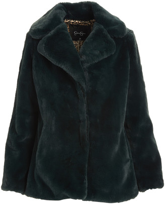 Jessica Simpson Collection Women's Car Coats FOREST - Forest Green Faux Fur Coat - Women