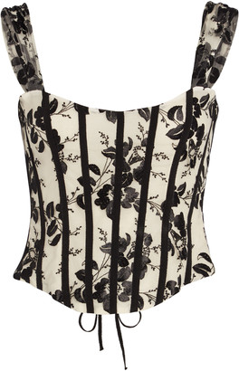 Brock Collection Floral Lace-Up Bustier Top