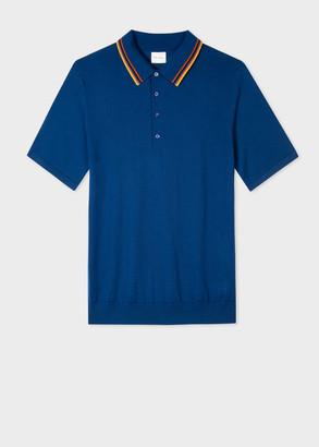 Paul Smith Men's Blue 'Artist Stripe' Merino Polo Shirt