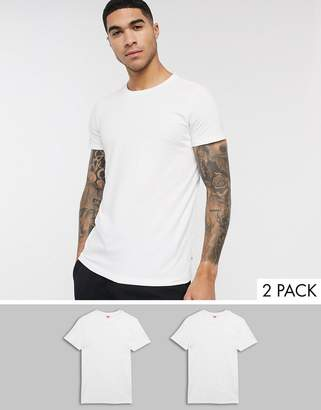 Levi's crew neck t-shirt in 2 pack in regular fit-White