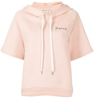 Marni Embroidered-Logo Short-Sleeve Hoodie