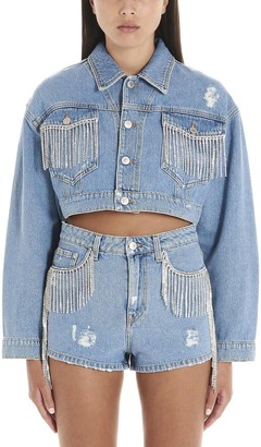 Chiara Ferragni Strass Fringes Denim Jacket