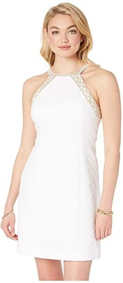 Lilly Pulitzer Pearl Stretch Shift Dress (Resort White Caliente Pucker Jacquard) Women's Clothing