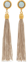 Ben-Amun Gold-tone, stone and tassel clip earrings