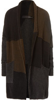 Isabel Benenato Colour-block Panelled Merino Wool-blend Cardigan - Brown
