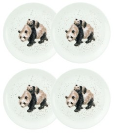 Royal Worcester Wrendale Bamboozled Panda Plate Set/4