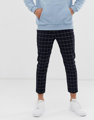 New Look smart cropped trousers in navy windowpane check