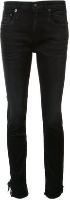 R 13 'Stratford' raw hem jeans