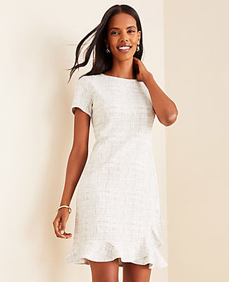 Ann Taylor Petite Tweed Ruffle Hem Dress